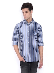 Pepe Jeans Men Navy & White Striped Slim Fit Casual Shirt