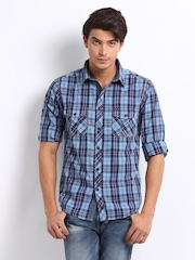 Pepe Jeans Men Blue & Red Checked Semi Fit Casual Shirt