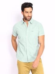 Pepe Jeans Men Green & White Striped Semi Fit Casual Shirt