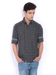 Pepe Jeans Men Grey Checked Semi Fit Casual Shirt