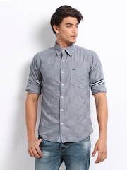 Pepe Jeans Men Grey Checked Slim Fit Causal Shirt