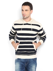 Pepe Jeans Men Cream-Coloured & Navy Striped Hooded Sweater