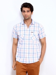 Pepe Jeans Men White & Blue Checked Casual Shirt