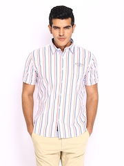 Pepe Jeans Men White Striped Casual Shirt