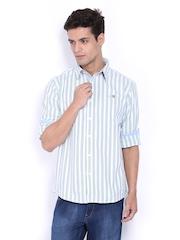 Pepe Jeans Men White & Green Striped Semi Fit Casual Shirt