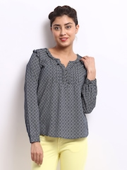 Pepe Jeans Women Navy & White Printed Top
