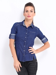 Pepe Jeans Women Dark Blue Scafell Denim Casual Shirt
