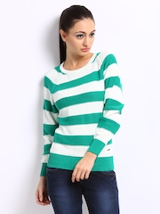Pepe Jeans Women Green & Off-White Striped Sweater