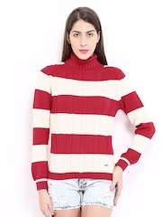 Pepe Jeans Women Off-White & Red Striped Sweater