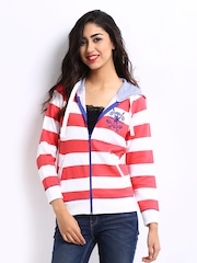 Pepe Jeans Women Pink & White Striped Hooded Sweatshirt