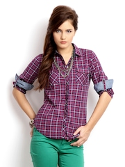 Pepe Jeans Women Red & Navy Checked Casual Shirt