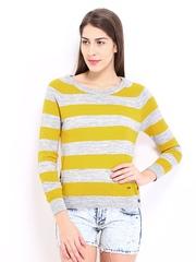 Pepe Jeans Women Yellow & Grey Striped Sweater