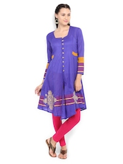 Women Blue Anarkali Kurta Peppertree