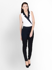 Pera Doce Women White & Black Jumpsuit