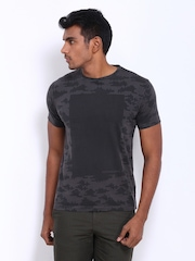 Peter England Men Charcoal Grey Printed T-shirt