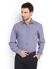 Men Blue & Red Striped Nuvo Fit Formal Shirt Peter England
