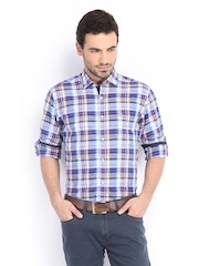 Peter England Men Blue & White Checked Slim Fit Casual Shirt