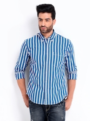 Peter England Men Blue & White Striped Slim Fit Casual Shirt