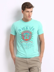 Peter England Men Blue Printed T-shirt