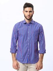 Peter England Men Blue Striped Slim Fit Casual Shirt