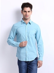 Peter England Men Blue Super Slim Fit Casual Shirt