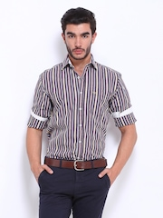 Peter England Men Brown Striped Slim Fit Casual Shirt