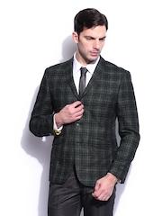 Peter England Men Charcoal Grey Checked Wool Blend Blazer