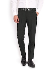 Men Charcoal Grey Elite Slim Fit Formal Trousers Peter England