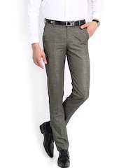Men Charcoal Grey Slim Fit Formal Trousers Peter England