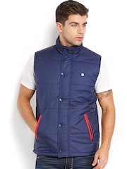 Peter England Men Dark Blue Padded Sleeveless Jacket