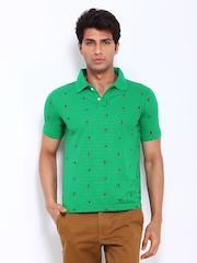 Peter England Men Green Embroidered Polo T-shirt