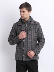 Peter England Men Grey & Brown Checked Wool Blend Jacket