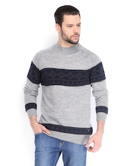 Peter England Men Grey Melange Wool Sweater