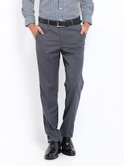 Peter England Men Charcoal Grey Elite Slim Fit Formal Trousers
