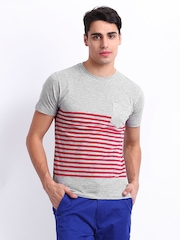 Peter England Men Grey & Red Striped T-shirt