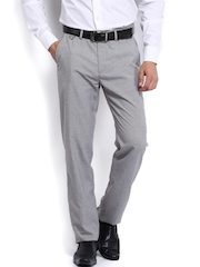 Men Light Grey Slim Fit Formal Trousers Peter England
