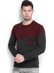 Peter England Men Maroon & Charcoal Grey Woollen Sweater