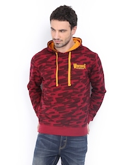 Peter England Men Maroon Camouflage Printed Hooded Sweatshirt
