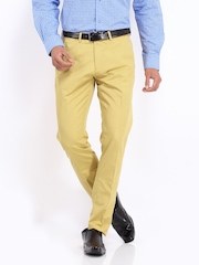 Peter England Men Mustard Yellow Carrot Fit Chino Trousers