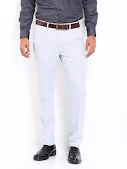 Peter England Men Off-White Linen Blend Slim Fit Formal Trousers