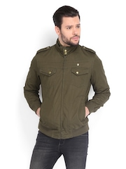 Peter England Men Olive Green Jacket