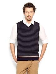 Peter England Men Purple & Grey Striped Sweater