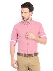 Peter England Men Red & White Striped Slim Fit Casual Shirt