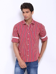 Peter England Men Red & Green Striped Slim Fit Casual Shirt