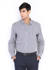 Men White & Navy Checked Nuvo Fit Formal Shirt Peter England