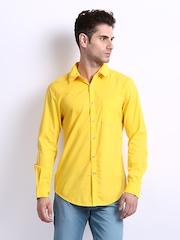 Peter England Men Yellow Super Slim Fit Casual Shirt