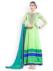 Lime Green & Turquoise Blue Embroidered Georgette Semi-Stitched Dress Material Petrafab