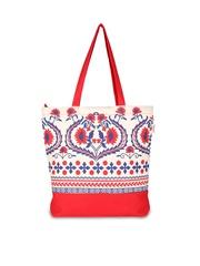 Pick Pocket Women Red & Off-White Printed Tote Bag