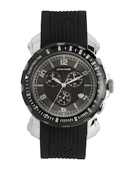 Pierre Cardin Men Black & Gunmetal Toned Dial Watch