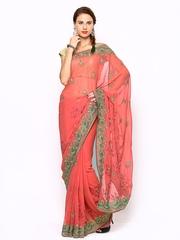 Pink Chiffon Embroidered Fashion Saree